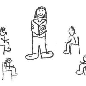 Tekening van Taalronde met een boek