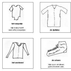 Memoryspel Kleding met teksten en tekeningen van ouders